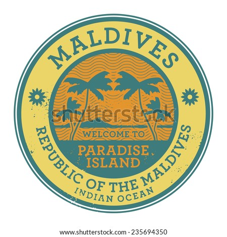 Stamp or label with the name of Maldives Islands, vector illustration - stock vector