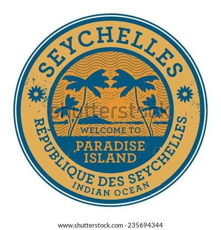 Stamp or label with the name of Seychelles Islands, vector illustration - stock vector