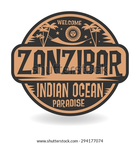 Stamp or label with the name of Zanzibar, Indian Ocean, vector illustration - stock vector