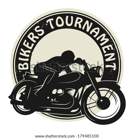 Stamp or label with the words Bikers Tournament inside, vector illustration - stock vector