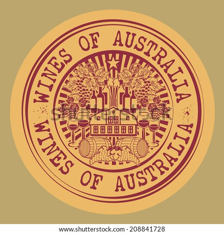 Stamp or label with words Wines of Australia, vector illustration