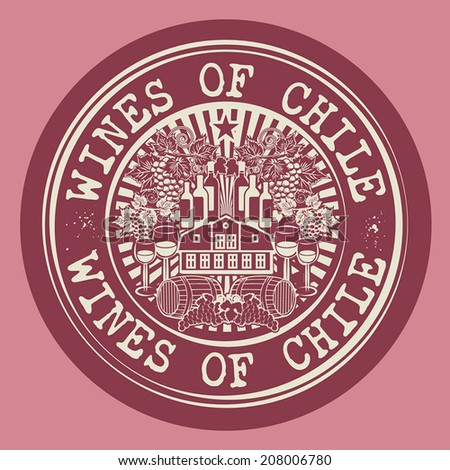 Stamp or label with words Wines of Chile, vector illustration