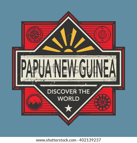 Stamp or vintage emblem with text Papua New Guinea, Discover the World, vector illustration