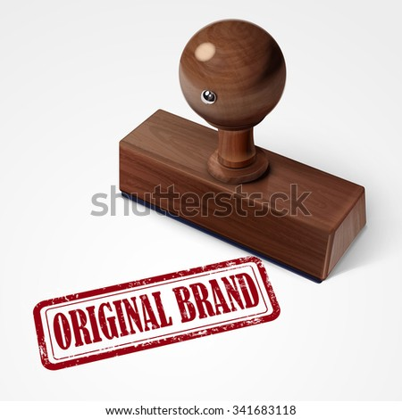 stamp original brand in red over white background - stock vector