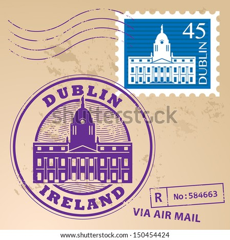 Stamp set with Dublin, Ireland inside, vector illustration - stock vector