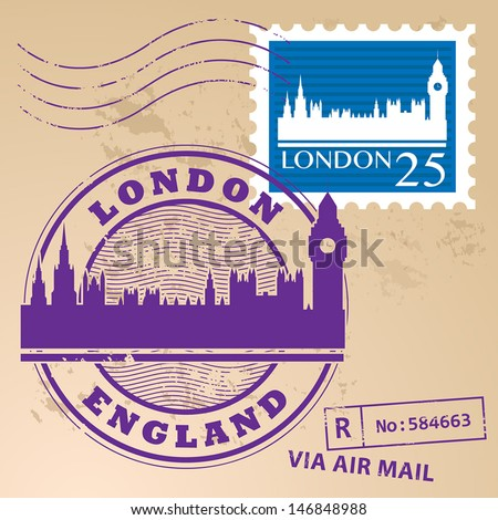 Stamp set with text London, England inside, vector illustration - stock vector