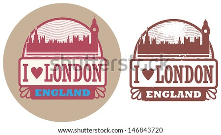 Stamp set with text Love London, England inside, vector illustration - stock vector