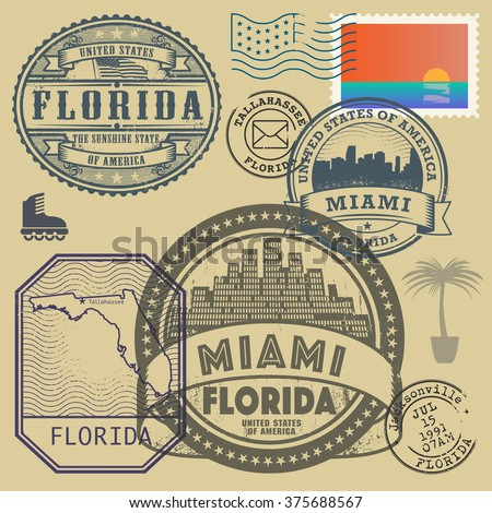 Stamp Set With The Name And Map Of Florida United States Vector Ilration