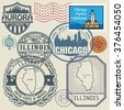 Stamp set with the name and map of Illinois, United States, vector illustration - stock vector