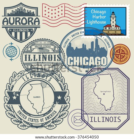 Stamp Set With The Name And Map Of Illinois United States Vector Ilration