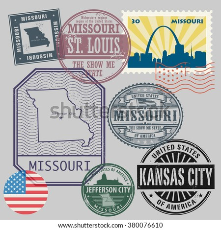 Stamp set with the name and map of Missouri, United States, vector illustration