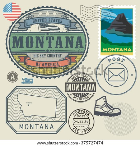 Montana Map Stock Images RoyaltyFree Images Vectors Shutterstock - Large image map of us vector labels