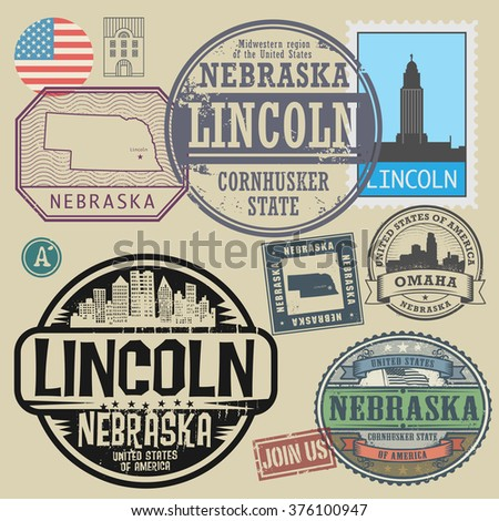 Stamp Set With The Name And Map Of Nebraska United States Vector Ilration