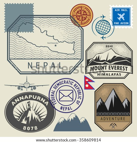 Stamp set with the name and map of Nepal, vector illustration - stock vector