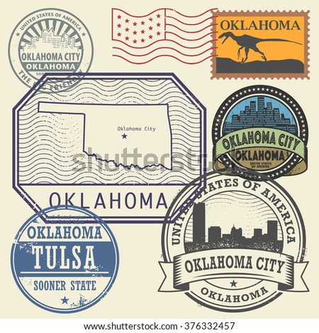 Stamp Set With The Name And Map Of Oklahoma United States Vector Ilration
