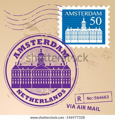 Stamp set with words Amsterdam, Netherlands inside, vector illustration - stock vector
