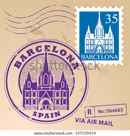 Stamp set with words Barcelona, Spain inside, vector illustration - stock vector