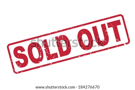 stamp sold out with red text over white background - stock vector