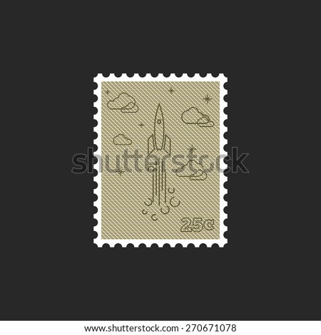 Stamp start up rocket, mockup startup project logo - stock vector