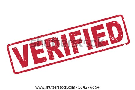 stamp verified with red text over white background - stock vector