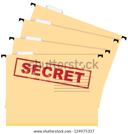 Stamp warning secrecy. A set of files of the document. Vector illustration.