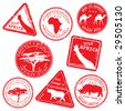 stamp, wild africa, vector set - stock vector