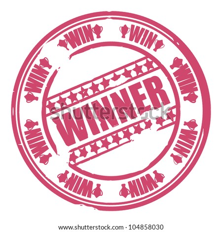 stamp win - stock vector