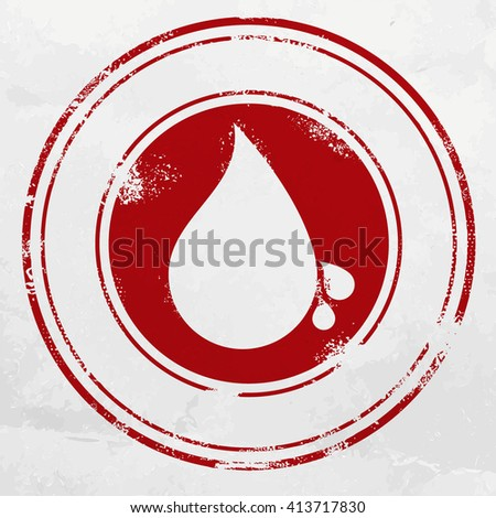 Stamp with drop of blood - stock vector
