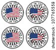 Stamp with map, flag of the USA. Made in the USA. Two forms: grunge and tidy - stock photo