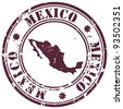 stamp with Mexico map and name Mexico written inside the stamp - stock vector
