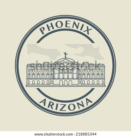 Stamp with name of Arizona, Phoenix, vector illustration - stock vector