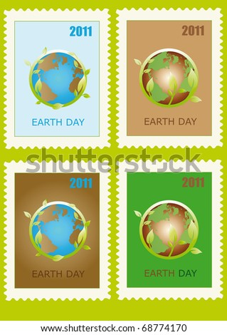 Stamp with planet symbol on Earth Day - stock vector