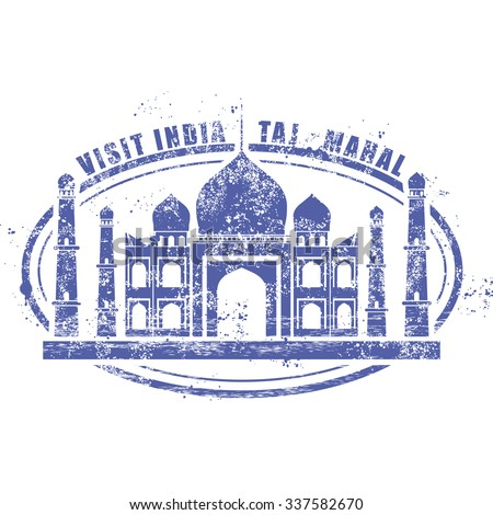 Stamp with Taj Mahal palace - visit India - stock vector