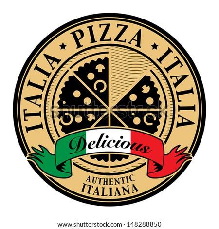 ... Pizza - Delicious written inside, vector illustration - stock vector