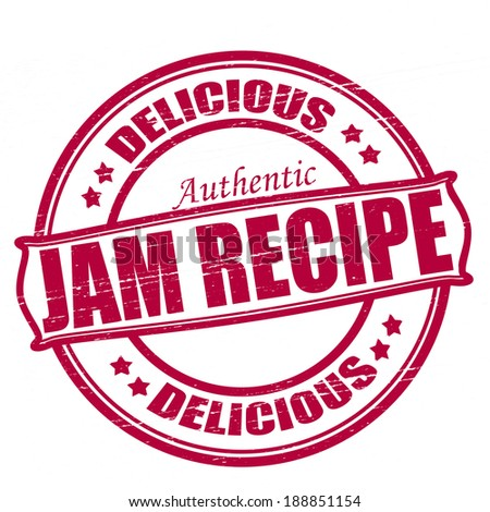 Stamp with text jam recipe inside, vector illustration