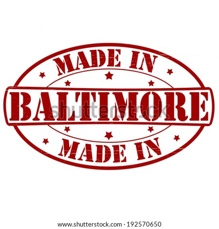 Stamp with text made in Baltimore inside, vector illustration