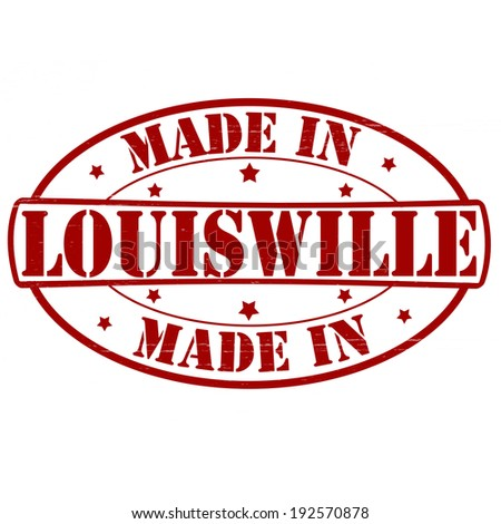 Stamp with text made in Louisville inside, vector illustration