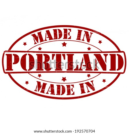 Stamp with text made in Portland inside, vector illustration