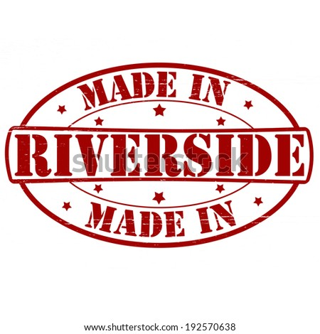 Stamp with text made in Riverside inside, vector illustration