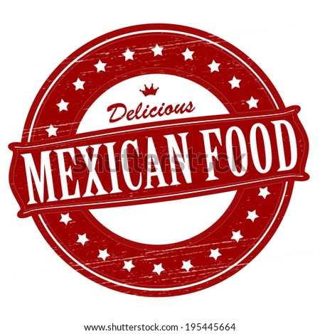 Stamp with text Mexican food  inside, vector illustration