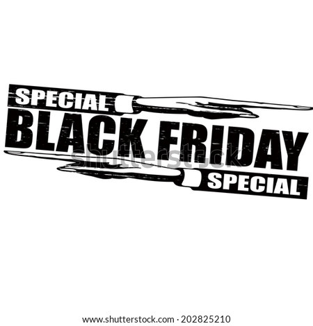 Stamp with text special black Friday inside, vector illustration
