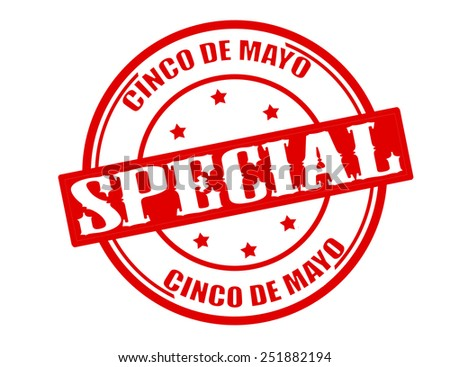 Stamp with text special five of may inside, vector illustration
