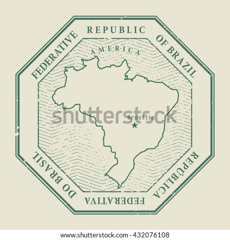 Stamp with the name and map of Brasil, vector illustration - stock vector