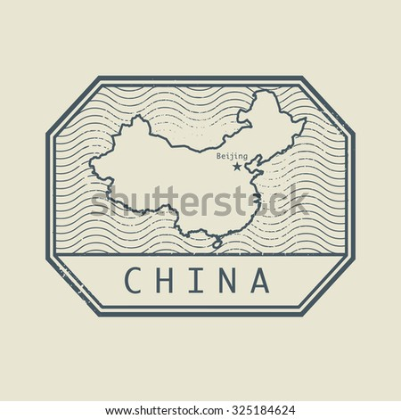 Stamp with the name and map of China, vector illustration - stock vector