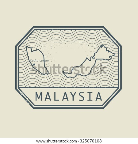 Stamp with the name and map of Malaysia, vector illustration - stock vector