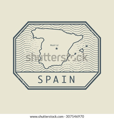 Stamp with the name and map of Spain, vector illustration - stock vector