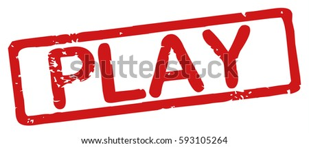 "Stamp with word ""play"", grunge style, on white background"