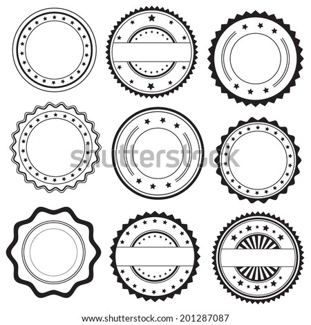 Stamps and decorative stickers icons, set, graphic design elements, black isolated on white background, vector illustration.
