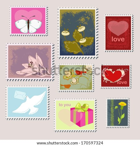 Stamps and nature - stock vector