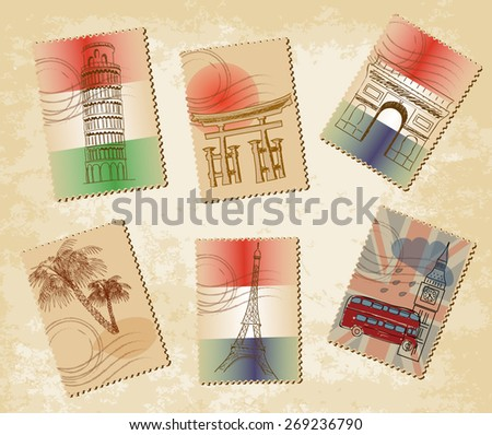 Stamps landmarks - stock vector